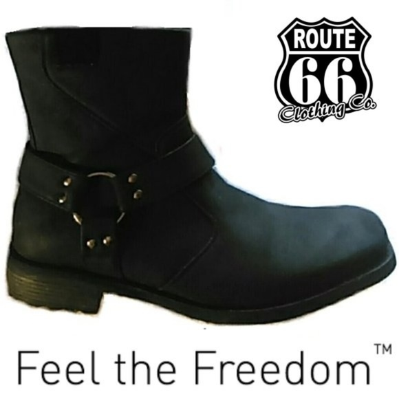 Black Vegan Leather Harness Ankle Boots